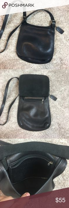 """Vintage Coach Black Leather Crossbody Shoulder Excellent condition! Vintage Coach crossbody bag. Black leather with silver hardware. Minor wear to strap. Interior is in excellent shape. One interior flap zip pocket. Flap closure. Adjustable strap on both ends. 9.5"""" H x 9"""" L. Coach Bags Crossbody Bags"""
