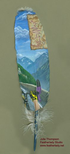 Commissioned feather painting - Tour de France.  This was for a 50th birthday, with the recipient's favorite portion of the race.