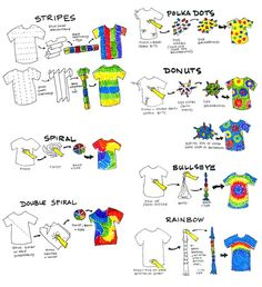 DIY tie dye This is a great guide. Wish I had it while doing daycamps in the Tie dye folding techniques.Methods for tie dye. Fête Tie Dye, Tie Dye Party, How To Tie Dye, Kids Tie Dye, Tie Dye Socks, Tie Dye Crafts, Crafts To Do, Crafts For Kids, Summer Crafts
