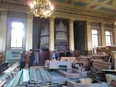 Brindley & Foster organ and items currently stored in the church hall by the St Petersburg Conservatory