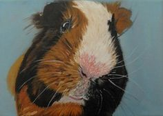 Fifi, the guinea pig portrait, oil on canvas. Oil on canvas classical art made to order. Art as gift. Custom made art. Classical oil painting. Canvas art.