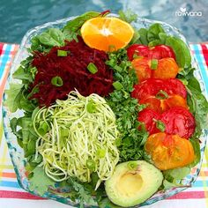 Before I eat: take a deep breath, center myself to the now, give thanks and bless my food.Gorgeous salad tonight! Mixed greens, shredded beets, spiralized zucchini, heirloom tomatoes, cilantro, green onion, and avocado dressed with orange juice! So many flavors in each bite