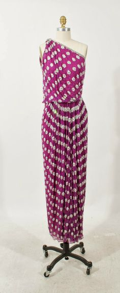 Galanos purple chiffon with embroidered trim and dots one shoulder gown, c.1970's. Modern size 0.