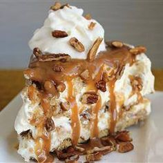 "Butter Brickle Frozen Delight ""This dessert is a frozen winner! It is made in a springform and can be stored in the freezer It is a very rich dessert with layers of butter brickle, caramel sauce, and a rich layer of cool whip & cream cheese. Very rich! Pie Recipes, Sweet Recipes, Dessert Recipes, Recipes Dinner, Healthy Recipes, Cooking Recipes, Pecan Recipes, Delicious Recipes, Dessert Aux Fruits"