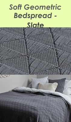 Comfortable Geometric Bedspread - Slate - #bedspread #comfortable #geometric #slate Geometric Cushions, Bedspread, Slate, Weaving, Blanket, Decoration, Room, Ideas, Quilt