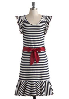 NWT, Medium, very stretchy so could work for a smaller large too. Good Times Roll Dress in Stripes by Effie's Heart - Jersey, Cotton, Knit, Long, Blue, White, Stripes, Pockets, Ruffles, Belted, Casual, Sheath / Shift, Cap Sleeves, Better, Scoop, Red, Nautical, Summer, Variation