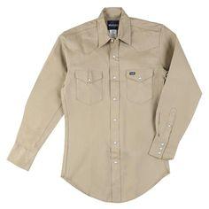 145 in. x 33 in. Men's Cowboy Cut Western Work Shirt, Green