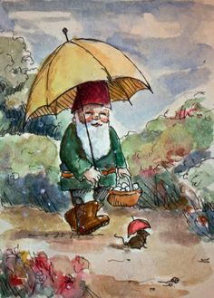 Gnome Summer Greeting Cards  By JollyGnome by InkandLace on Etsy
