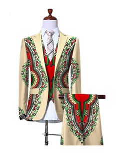 Notched Collar Vintage Ethnic Printed One Button Slim Fit Men's Dress Suit African Shirts For Men, African Dresses Men, African Clothing For Men, Latest African Fashion Dresses, African Men Fashion, African Attire, African Wear, Dress Suits For Men, Men Dress