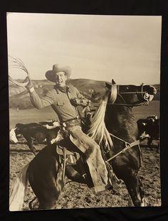 vintage 1940's cowboy actor Rex Allen on horse Koko, photo 19 x 15