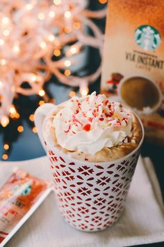 Peppermint Mocha at home: 1 packet of VIA Peppermint Mocha, + 8 oz hot water. Top with whipped cream and crushed peppermint if you're feeling fancy.