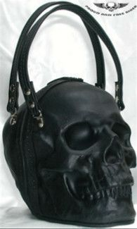 Black Leather Skull Purse Clutch by Brian Griffin