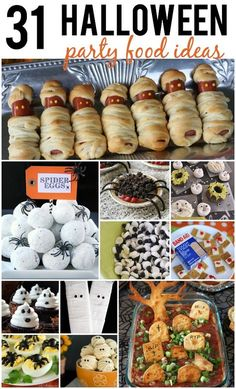 Hosting a Halloween Party this year? In charge of a dish for the neighborhood party this year? Here are 31 Halloween Party Food Ideas that will be the hit of any Halloween Party!Reasons To Skip The Housework Recetas Halloween, Soirée Halloween, Halloween Goodies, Halloween Food For Party, Holidays Halloween, Halloween Finger Foods, Vintage Halloween, Halloween Makeup, Vintage Witch