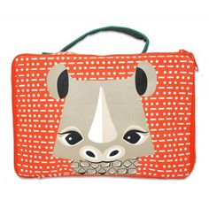 Lunchbox en coton bio motif rhinocéros / Lunchbox made out of organic cotton with rhino graphic / www.coqenpate.com #rentreescolaire #backtoschool #saveoursspecies