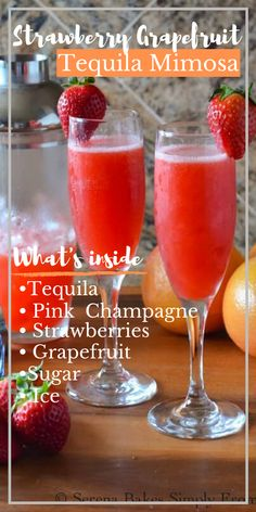 An easy brunch favorite Strawberry Grapefruit Tequila Mimosas take a classic and kick it up a notch! Perfect for parties and celebrations these gorgeous cocktails are a must from Serena Bakes Simply From Scratch. Pink Moscato Champagne, Grapefruit Tequila, Little Lunch, Cocktail Recipes, Cocktail Drinks, Party Drinks, Drink Recipes, Desert Recipes, Clean Eating Snacks