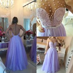 Real Elegant Lavender Beaded Prom Dresses,Charming Lace Evening Dresses,Deep V-neck Party Dresses by lass, $158.00 USD