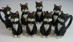 SET OF 8 ADORABLE BLACK CAT NAPKIN HOLDERS~NEVER USED