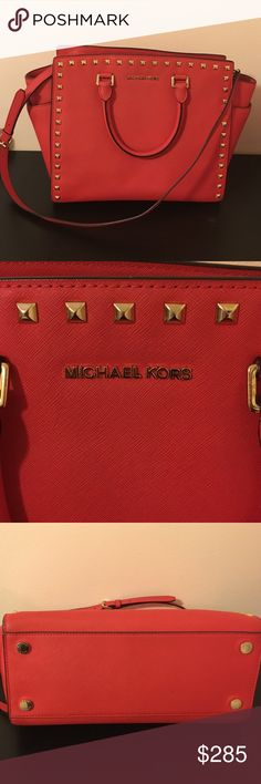 Michael Kors L Selma Mandarin (Reddish/orange) saffiano leather. Gold tone studs around the front and bag. Double handles with long cross over strap. Great for iPads, Mac books. Fashionable for school. Great condition!!                                             If needed more pictures or have any questions, feel free go ask!! Michael Kors Bags Crossbody Bags