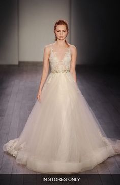 Lazaro Lace Appliqué Tulle Ballgown Dress (In Stores Only) available at #Nordstrom