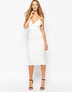 Image 4 of Missguided White Slinky Strappy Midi Dress