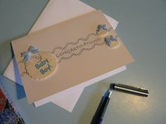 Congratulations Baby Boy - Bib and booties card - pinned by pin4etsy.com