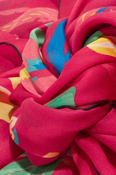 Valentino - Tropical Dream Printed Silk Scarf - Bubblegum - one size