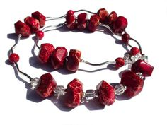 Beaded Necklace Earrings Set Red Imperial by OlgaJewelryBoutique