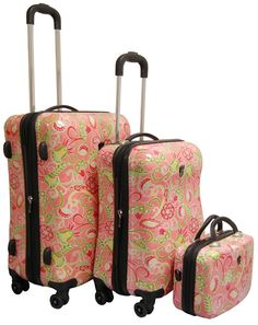 Heys USA Painterly 3 Piece Spinner Luggage Set - Coral Flowers;