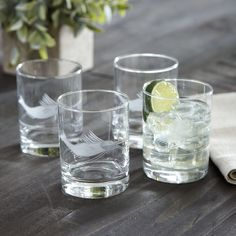 Swordfish Etched Rocks Glasses | Etched with a translucent image of the mighty swordfish, these rocks glasses make a fine addition to the home bar.