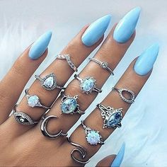 Retro Jewelry Buy Opal Vintage Silver Plated Arcylic Crystal Ring Set Charm Exquisite Elegant Finger Ring Sets Women Accessories at Wish - Shopping Made Fun - Acrylic Nails Natural, Cute Acrylic Nails, Acrylic Nail Designs, Nail Art Designs, Glitter Nails, Design Art, Gold Nails, Opal Nails, Nails Design