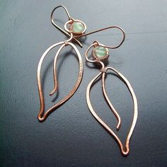 Leaf Earrings Long Copper Earrings Wire Wrap Leaves Green Aventurine spring fashion botanical jewelry. $28.95, via Etsy.
