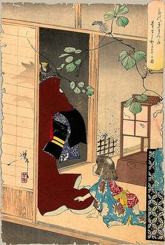Fox Woman Leaving her Child by Yoshitoshi Tsukioka by timtak, via Flickr