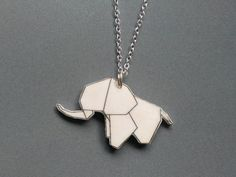 """Kette kleiner Origami Elefant bei """"Schmuck von Fräulein Poller"""" kaufen. (Dieses Design ist urheberrechtsgeschützt!) © by Mirjam Poller"""