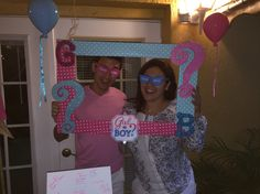 Gender reveal picture frame boy or girl blue or pink party ideas decoration