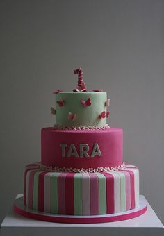 Pink and Pistachio Green First Birthday Cake by Ban Bakes - In Paris, via Flickr