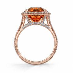 Spessartite Garnet & Diamond Ring