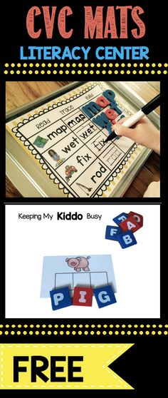 FREE Literacy Center CVC activities - worksheets and elkonin boxes to practice sounding out words - perfect for kindergarten or pre-k or even first grade