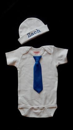 How perfect. Baby Boy Clothes OnePiece with Tie and Personalized by LilMamas, $26.00