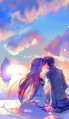 Wallpaper Backgrounds - Anime Sword Art Online Anime Asuna Yuuki Kirito Art Wallpaper - Wildas Wallpaper World Manga Anime, Film Anime, Anime Kiss, Art Anime, Manga Art, Schwertkunst Online, Arte Online, Online Anime, Online Gifts
