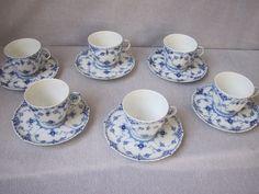 6++COFFEE+CUPS++&++SAUCERS+++ROYAL+COPENHAGEN++BLUE++FLUTED+FULL++LACE+#ROYALCOPENHAGEN