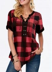 Lace Up Front Plaid Print Blouse Stylish Tops For Girls, Trendy Tops For Women, Blouses For Women, Women's Blouses, Plaid Outfits, Casual Outfits, Black Leggings Outfit, Tops Online, Shirts Online