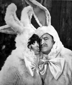 """April 8, 1981: Bob Hope and Jill St. John, as """"Mr. and Mrs. Easter Bunny,"""" search the forest for Easter eggs in skit on """"Bob Hope's Spring Fling of Glamour and Comedy."""" The NBC television special will be telecast April 13."""