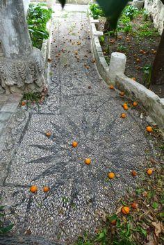Pebble Mosaic Medallion with Oranges, Pythagorio, Samos          Gardens by Jeffrey Bale