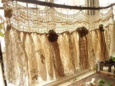 Custom Rustic Romantic ANTIQUE Lace Kitchen Valance Shabby BOHO Chic Vintage Crochet Lace Burlap Curtain Strip Fabric Banner Wedding Garland by BetterhomeLiving on Etsy https://www.etsy.com/listing/519396583/custom-rustic-romantic-antique-lace #shabbychickitchencurtains #rusticshabbychickitchen #antiques #vintagekitchen