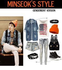 minseok airport fashion, genderbent version ~ #exo