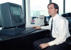 On April 4, 1991, Steve Jobs of NeXT Computer Inc., poses with his NeXTstation color computer for the press at the NeXT facility in Redwood City, Calif.