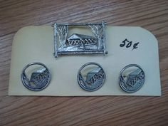 Vintage 1950s Pewter Buttons with Matching Brooch by bycinbyhand, $25.00