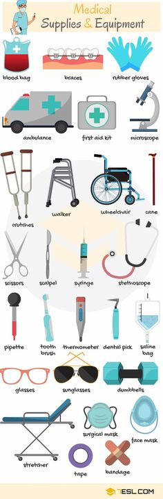 Medical Supplies and Equipment Vocabulary in English supplies Medical Supplies and Equipment Vocabulary in English - ESLBuzz Learning English English Vocabulary Words, English Phrases, Learn English Words, Vocabulary Activities, English Writing, English Study, English Grammar, English English, English Resources