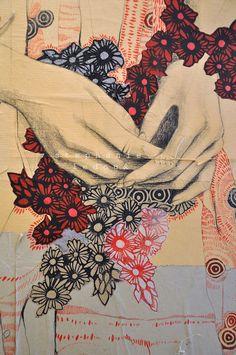 Stephanie Ledoux - mixed media. Techniques : Collage, couture, linogravure, sanguine noire