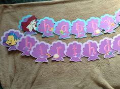 Little mermaid birthday banner, Ariel banner, happy birthday banner, under the sea banner, Ariel birthday decor by TheCrafftyCorner on Etsy